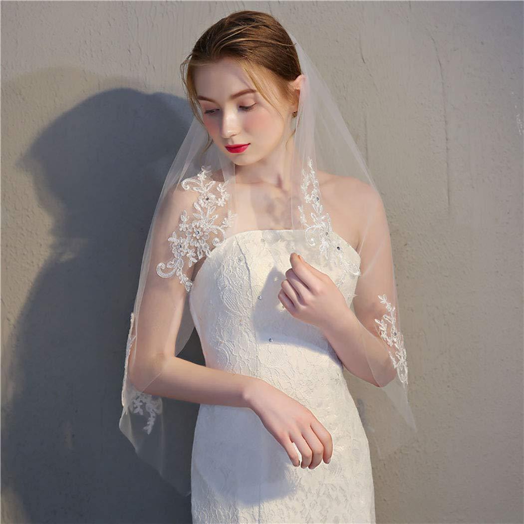 Ursumy Wedding Veil Hip Length Veil Lace Edge 1T 60