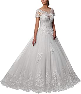 8fda040bb7d VKStar® Robe Mariée Femme Dentelle Fleur Manches Courtes Femme Robe de Mariage  Longue Dos Nu