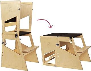 comprar comparacion Bianconiglio Kids ® Moka TRS Torre de Aprendizaje Montessori Acabado Transparente, Madera Vista, Regulable en Altura, Conv...
