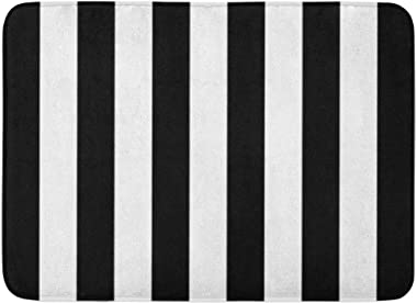 "Custom Bath Mat Black White Striped Home Bathroom Decor Rug 15.7""x 23.6"" Inches Entrance Mat Floor Rug Indoor/Outdoor/Front D"