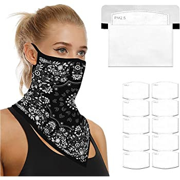Face Scarf Bandanas Ear Loops for Men Women Balaclava Neck Gaiters Outdoor Dustproof Cover with Safety Carbon Filters