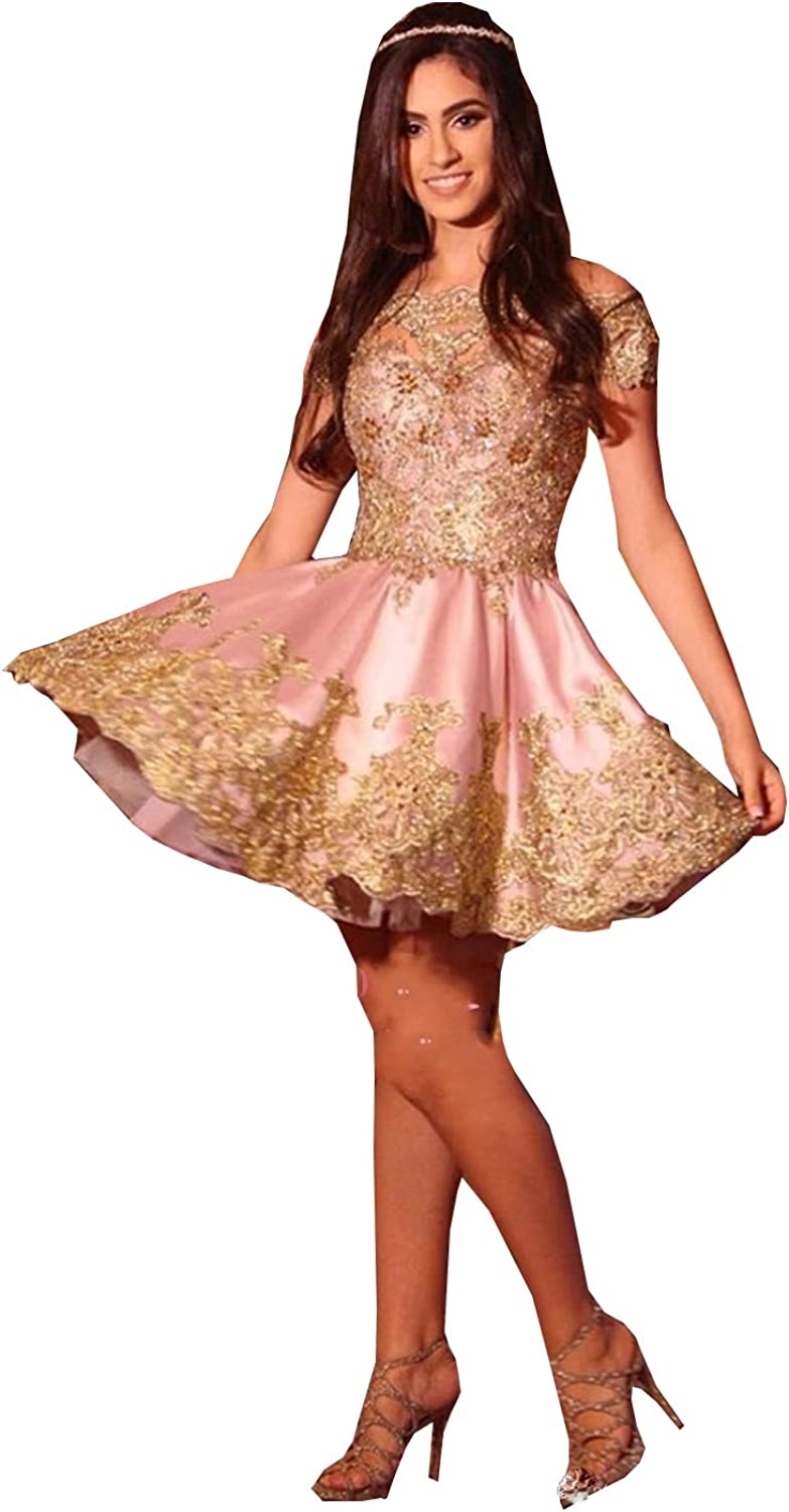 YOUTODRESS Luxury Homecoming Dresses Beaded gold Arabic Cocktail Prom Dress Short