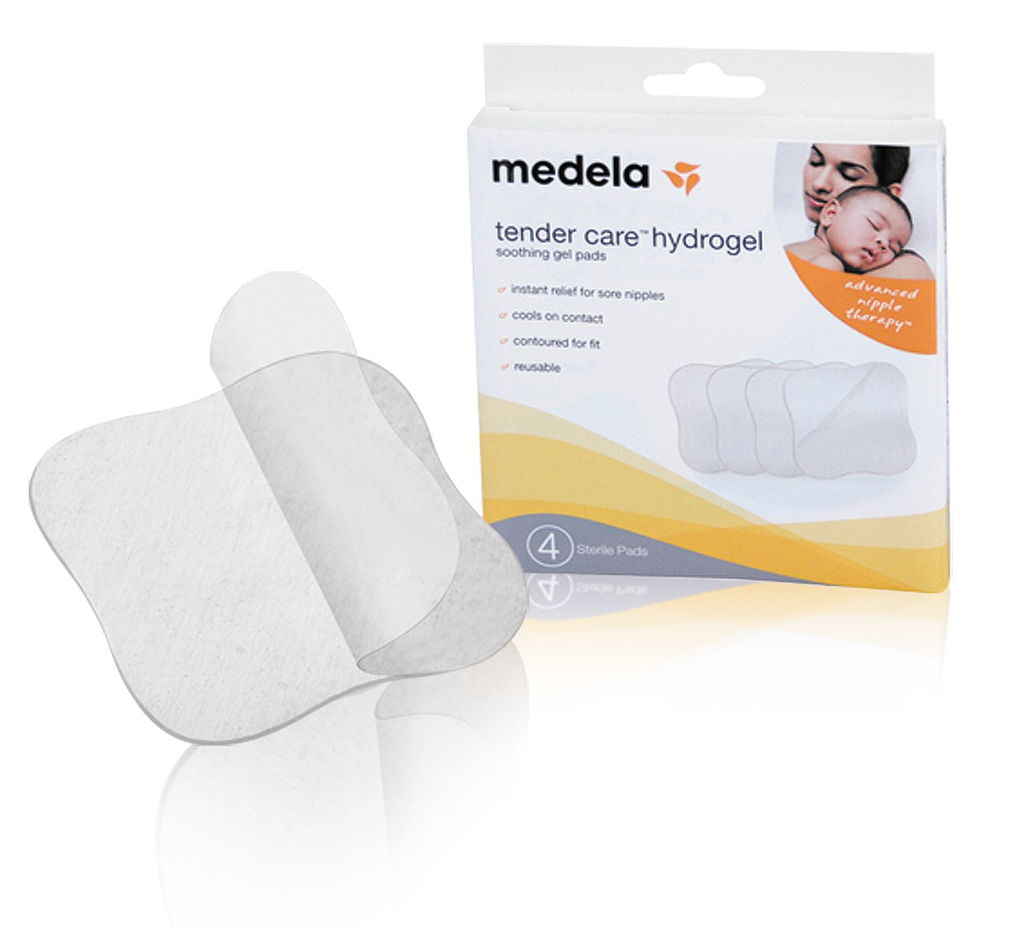 Medela Soothing Gel Pads for Breastfeeding, 4 Count Pack, Tender Care HydroGel Reusable Pads, Cooling Relief for Sore Nipp...