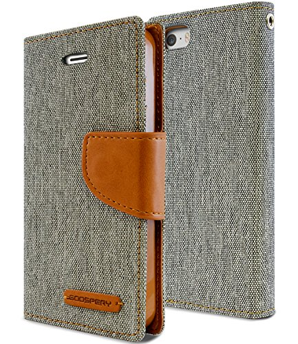 Goospery Canvas Wallet for Apple iPhone SE Case (2016) iPhone 5S Case (2013) iPhone 5 Case (2012) Denim Stand Flip Cover (Gray) IP5-CAN-GRY