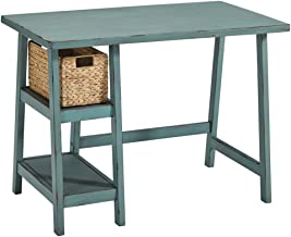 Ashley Furniture Signature Design - Mirimyn Small Home Office Desk - 2 Shelves - Includes Brown Basket - Distressed Antique Teal