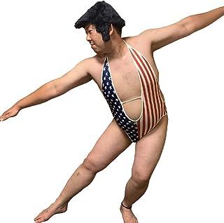 sac taske アメリカ国旗 水着 星条旗 V字 レオタード ハロウィン 衣装 コスチューム (L)