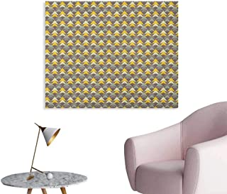 Anzhutwelve Abstract Wall Sticker Decals Ethnic Boho Style Pattern with Triangular Shapes Scribble Art Retro Geometrical Poster Print Multicolor W32 xL24