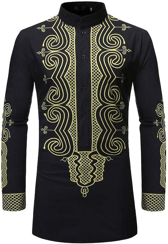 Men's Vintage African Dashiki Long Sleeve Button Down Long Henley Shirt Tops