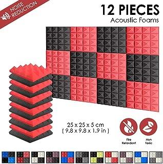 Super Dash Combination (12 Unidades) de 25 X 25 X 5cm Pulgadas Insonorizacion Piramide Espuma Absorcion Aislamiento Acustica Paneles Tratamiento Conjunto SD1034 (ROJO & NEGRO)