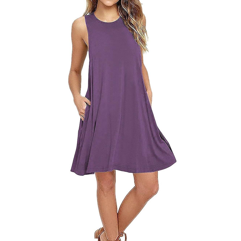 Women Mini Dress, JOYFEEL ?? Ladies Plus Size Button Casual Dress Sleeveless Pleated Loose Solid Summer Beach Dress