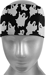 Halloween Funny Scary Spooky White Ghost Workout Headbands Non Slip Stretch Sports Sweat Head Band Moisture Wicking Sweatb...