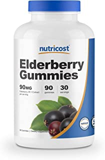 Nutricost Elderberry Gummies with Vitamin C & Zinc 90 Gummies - Gluten Free, Vegetarian, Natural Flavors