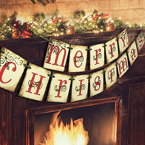 Merry Christmas Banner - Vintage Xmas Decorations Indoor for Home Office Party Fireplace Mantle