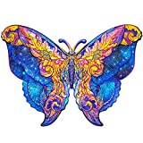 Wooden Puzzles Cartoon Fox Design For Kids and Adults Family Game Play Collection Toys Gift,Decor Puzzle Jigsaw Pieces, Best For Family Puzzle Piece Wall Decor A3 Butterfly