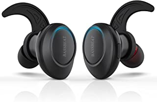 Bassbeat Total Wireless Headphones Total wireless Earbuds with Mic and Sweatproof Cordless Stereo Bluetooth Headphones for iPhone, Android for Sports or Driving, Black