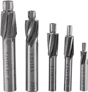 GLOGLOW 5pcs avellanador del Molino de Extremo, Cortador ranurado Brocas CNC Fresas rotatorias Conjunto Herramienta M3-M8 4 Flautas HSS-AL para Cobre, Aluminio, Acero, Hierro Fundido