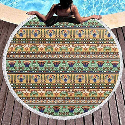 Leo-Shop Manta Redonda de Toallas de Playa Motivos étnicos egipcios Figuras de Escarabajo de Flores Playa Roundie Circle Picnic Carpet Yoga Mat con Borla