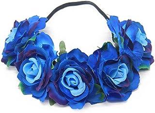 Tweal Diademas de Flores,Diademas de Flores Rosas Cinta Elástica Venda De Pelo Mujeres Chicas para Banquete de Boda Festiv...