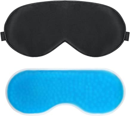 Plemo Sleep Mask, Gel Pack Eye Shade Set, Hot and Cold Therapy for Insomnia, Puffy Eyes and Dark Circles