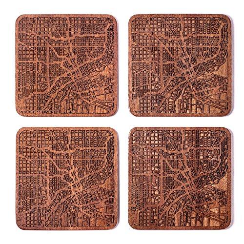 Handmade Detroit Map Coaster 4x