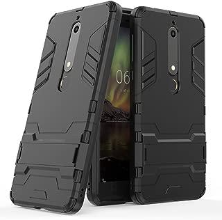 Nokia 6.1 Case, Nokia 6 2018 Case, [Not suitable for Nokia 6] MAIKEZI Dual Layer Armor Hard Slim Hybrid Kickstand Phone Cover Case for Nokia 6 2018 (Black Kickstand Case)