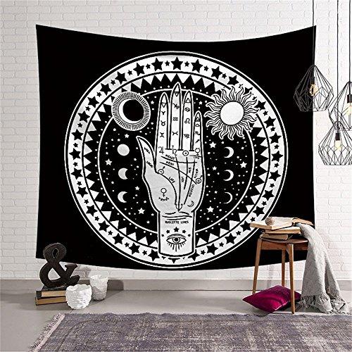 Tapiz de altar de tarot para colgar en la pared, de QCWN. Diseño de luna y sol con muchas caras fractales. Tapiz de energía mística para dormitorio o salón. 150 x 130 cm, 1, 59
