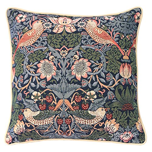 Blue Floral William Morris Cushion Cover by Signare | Designer Decorative Sofa Couch Pillow | Strawberry Thief (CCOV-STBL)