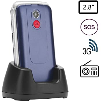 Uleway Unlocked Senior Flip Cell Phone with 2.8 Inch Colour LCD Display, Big Button SOS Emergency Key Compatible Easy-to-Use Basic 3G Cell Phone with Charging Dock, Blue