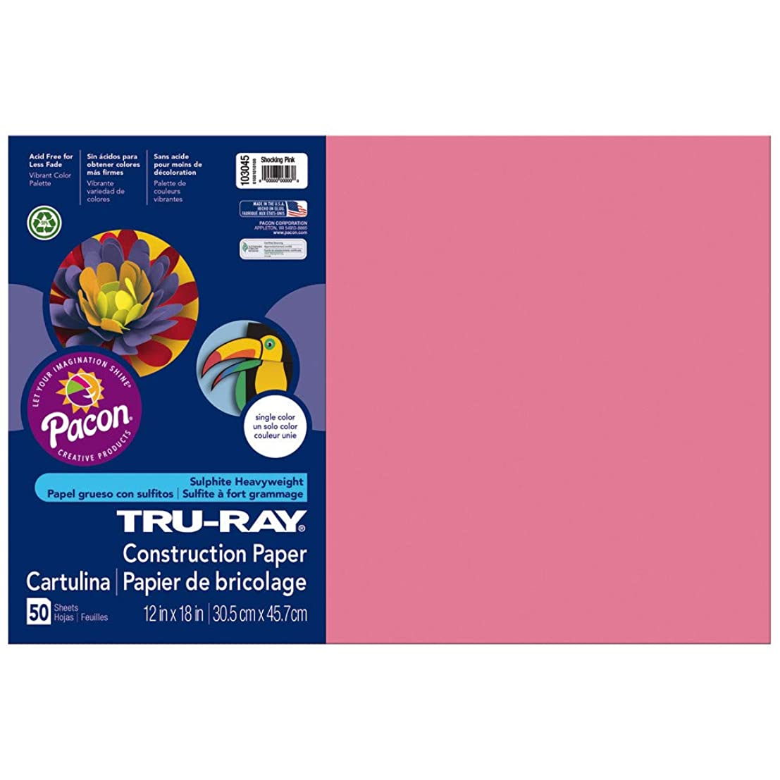 Pacon Tru-Ray Construction Paper, 76 lbs., 12 x 18, Shocking Pink, 50 Sheets/Pack (103045)