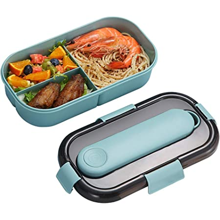 Blu Contenitori per Alimenti con Cucchiaio forchetta Bento Box con Posate Adatto per asporto Lunch Box 3 Scomparti e Posate Bento Box Impermeabile Rosa//Blu
