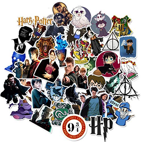 YMSD 50 pegatinas para ordenador portátil Harry Potter Sticker Cartoon Sticker Skateboard Guitar Maleta PVC impermeable no repetir