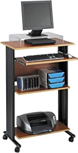 "Safco Products Muv 45""H Stand-Up Desk Fixed Height Computer Workstation with Keyboard Shelf, Cherry"