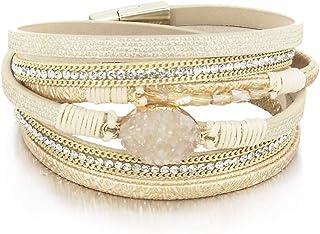 Leather Wrap Bracelet Boho Cuff Bracelet Crystal Bead...