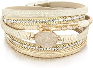 Leather Wrap Bracelet Boho Cuff Bracelets Crystal Bead Bracelet with Magnetic Clasp for Women