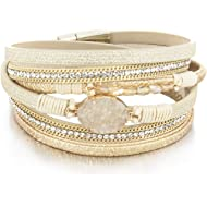 Leather Wrap Bracelet Boho Cuff Bracelet Crystal Bead Bracelet Rhinestone Handmade Bangle...