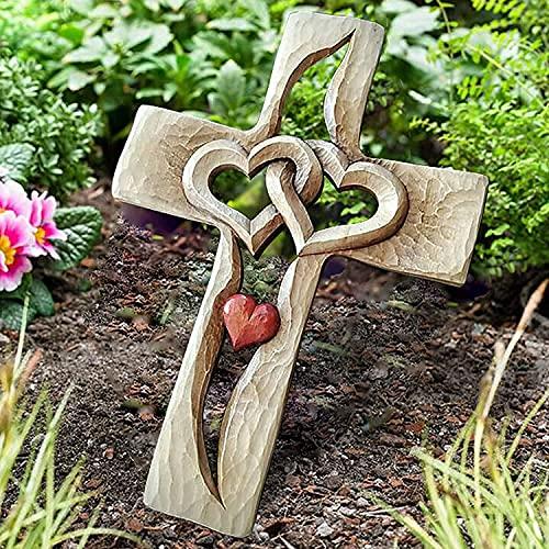 Muur opknoping gesneden houten kruis – verweven harten, twee harten, houten kruis voor muur opknoping huis woonkamer decor