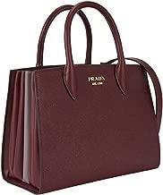 Prada Bibliothèque Tote Saffiano City Leather Maroon and Gray Handbag 1BA049