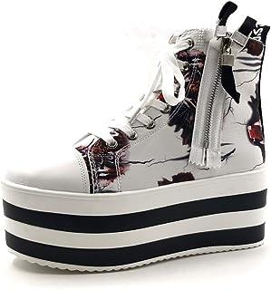 a678365477d9d Angkorly - Chaussure Mode Basket Compensée Punk Rock Plateforme Femme  Fleurs Rayures Talon compensé Plateforme 7.5