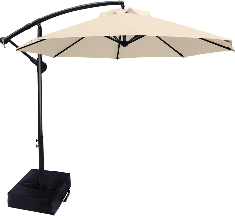 Patio Umbrellas Cantilever Umbrella Offset Hanging Umbrellas 9 FT Outdoor Market Umbrella with Crank & Cross Base for Garden, Deck, Backyard, Pool and Beach, 12+ Colors,Light Beige