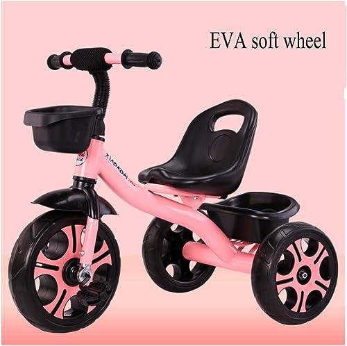 GIFT Kinderwagen-Kinder-Dreirad Mit Glocken Und Musik, Eva-Weißhes Rad, Sitz Kann Eingestellt Werden, 2-6 Jahre, B