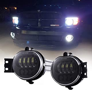 Z-OFFROAD 2pcs 63W LED Fog Lights Lamps Replacement for 2002-2008 Dodge Ram 1500 2003-2009 Ram 2500 3500 2004-2006 Durango Truck, Driver and Passenger Side - Black