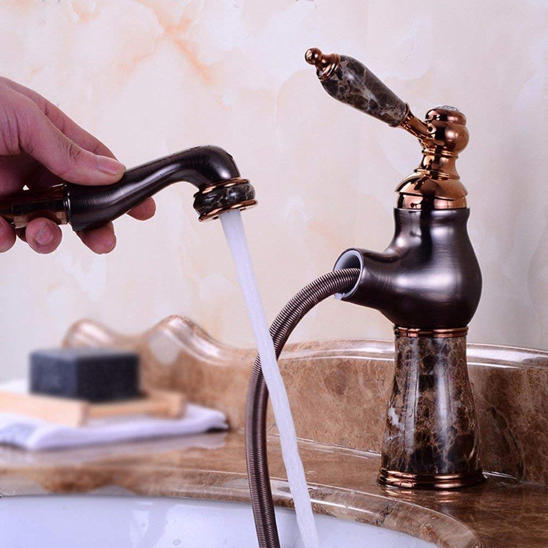 Ywqwdae Europischen Stil Retro-Stil Einzigen Griff Alle Kupfer Heie Und Kalte Einzel Loch Waschbecken Stretch Ziehen Sink Wasserhahn