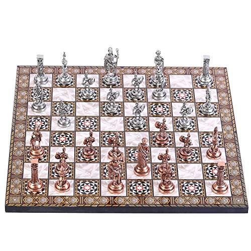 GiftHome Figuras romanas de cobre antiguo juego de ajedrez de metal para adultos, piezas hechas a mano y tablero de ajedrez de madera con patrón de madreperla King 2.8 inc
