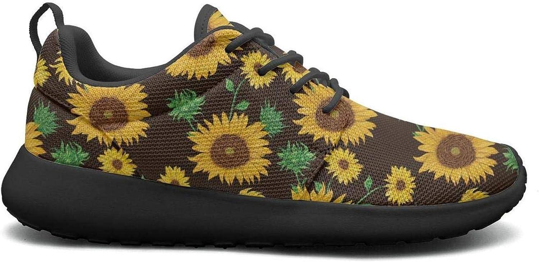 CHALi99 Fashion Women Lightweight Mesh shoes Beautiful Yellow Sunflower Print Sneakers Running Rubber Sole