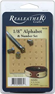 "Silver Creek Leather Realeather 1/8"" Alphabet and Number Stamp Set, Chrome Plated"