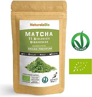 Thé Matcha Bio Japonais [ Premium Qualité ] 50 gr   Thé Vert Matcha en Poudre 100% Naturel   Matcha Green Tea Produit au Japon Uji, Kyoto   Idéal à Boire, pour Cuisiner et dans le Lait   NATURALEBIO®