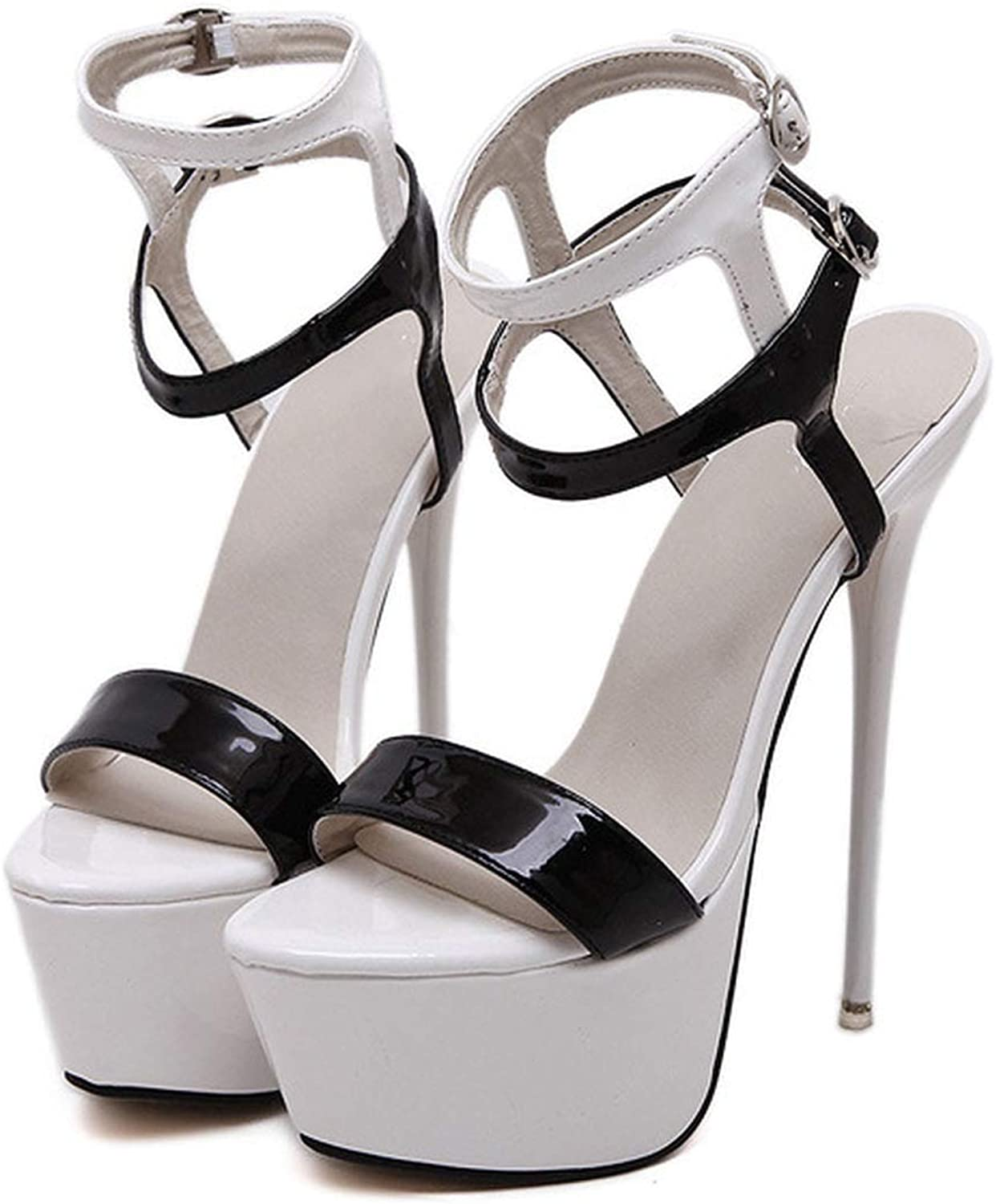 Ultra High Heels shoes Platform Sandals Open Toe Ankle Strap Party Sandals