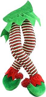 YEKKU Pierna de elfo de Navidad, patas de elfo de Papá Noel con zapatos, decoración de árbol de Navidad para colgar en el ...