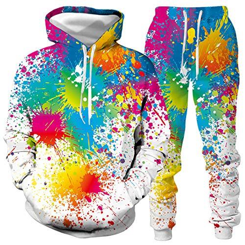 DREAMING-Traje de suéter con capucha de otoño e invierno 3d para amantes del graffiti Top de manga larga + pantalón traje deportivo de ocio XXL