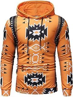 WUFAN Men's Patterned with Hood Long Sleeve Printing Casual Sweatshirt